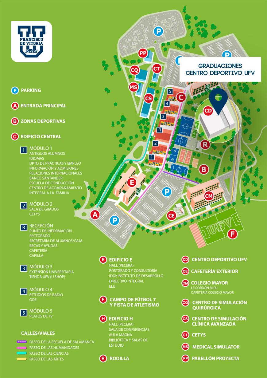 Mapa Campus Graduaciones UFV