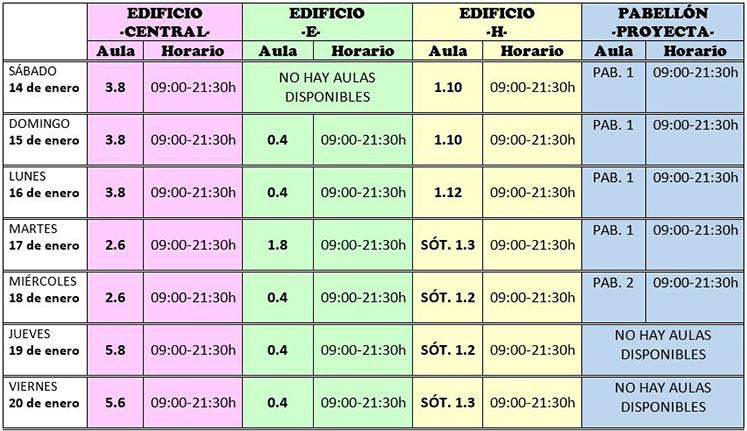 Horarios de la Biblioteca para los Exámenes de Febrero de 2017