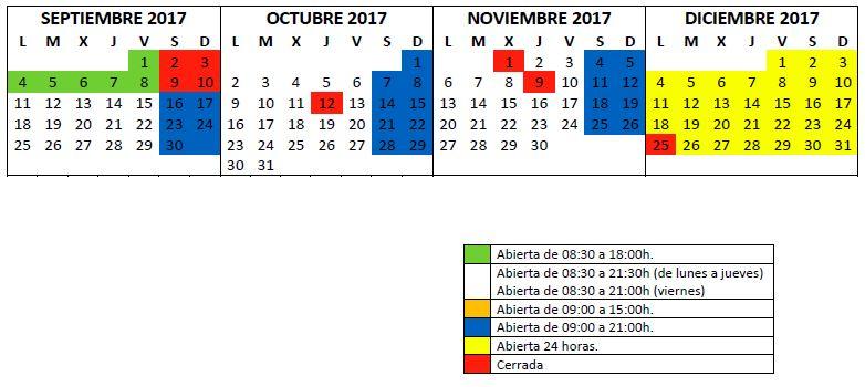 Horario biblioteca septiembre 2017