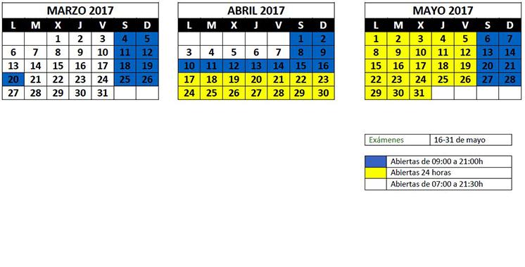 Horario Biblioteca Fin de Semana Salas Sótano 2