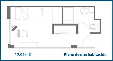 Plano habitación colegio mayor